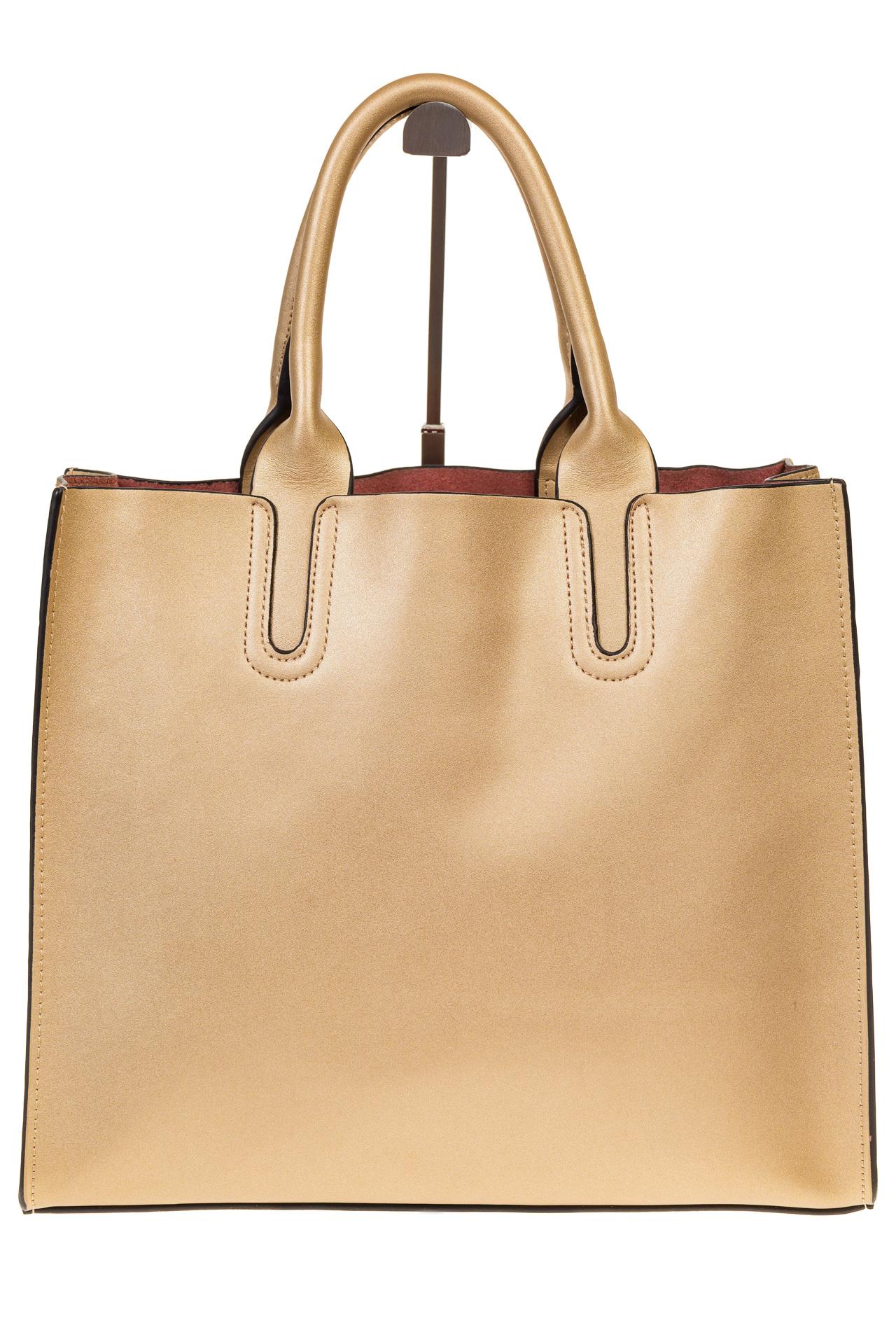 На фото 3 - Женская сумка-шопер золотистого цвета 6009MK5