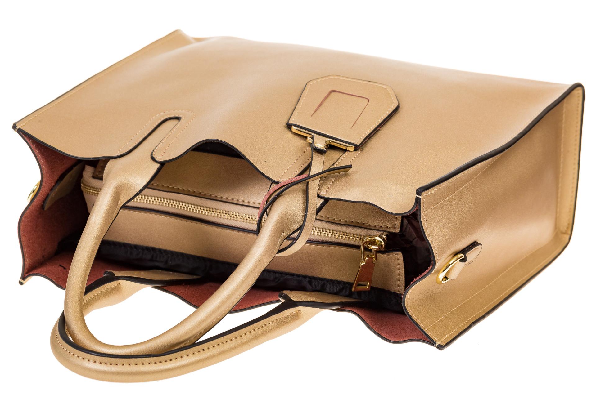 На фото 4 - Женская сумка-шопер золотистого цвета 6009MK5