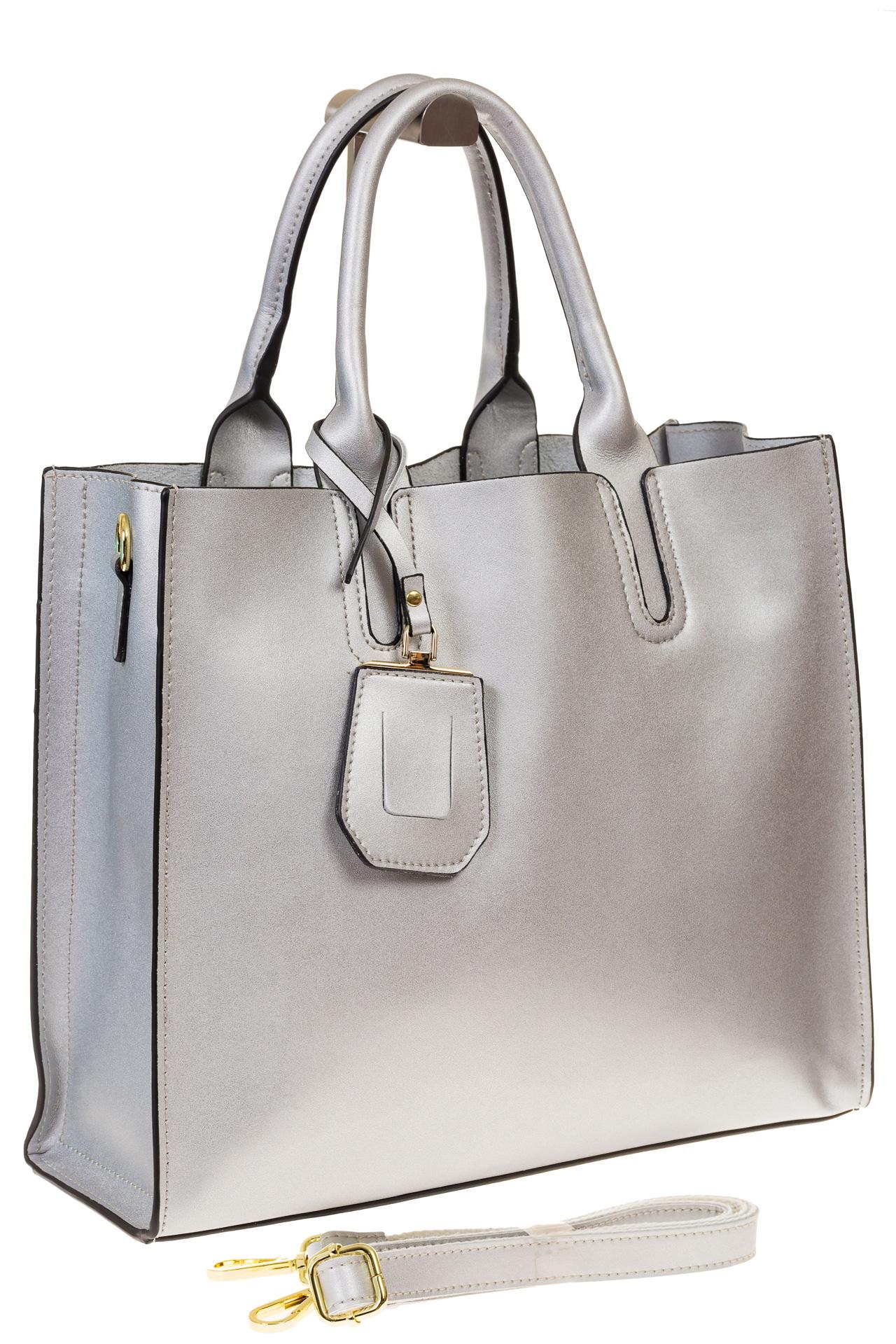 На фото 1 - Женская сумка-шопер серебристого цвета 6009MK5