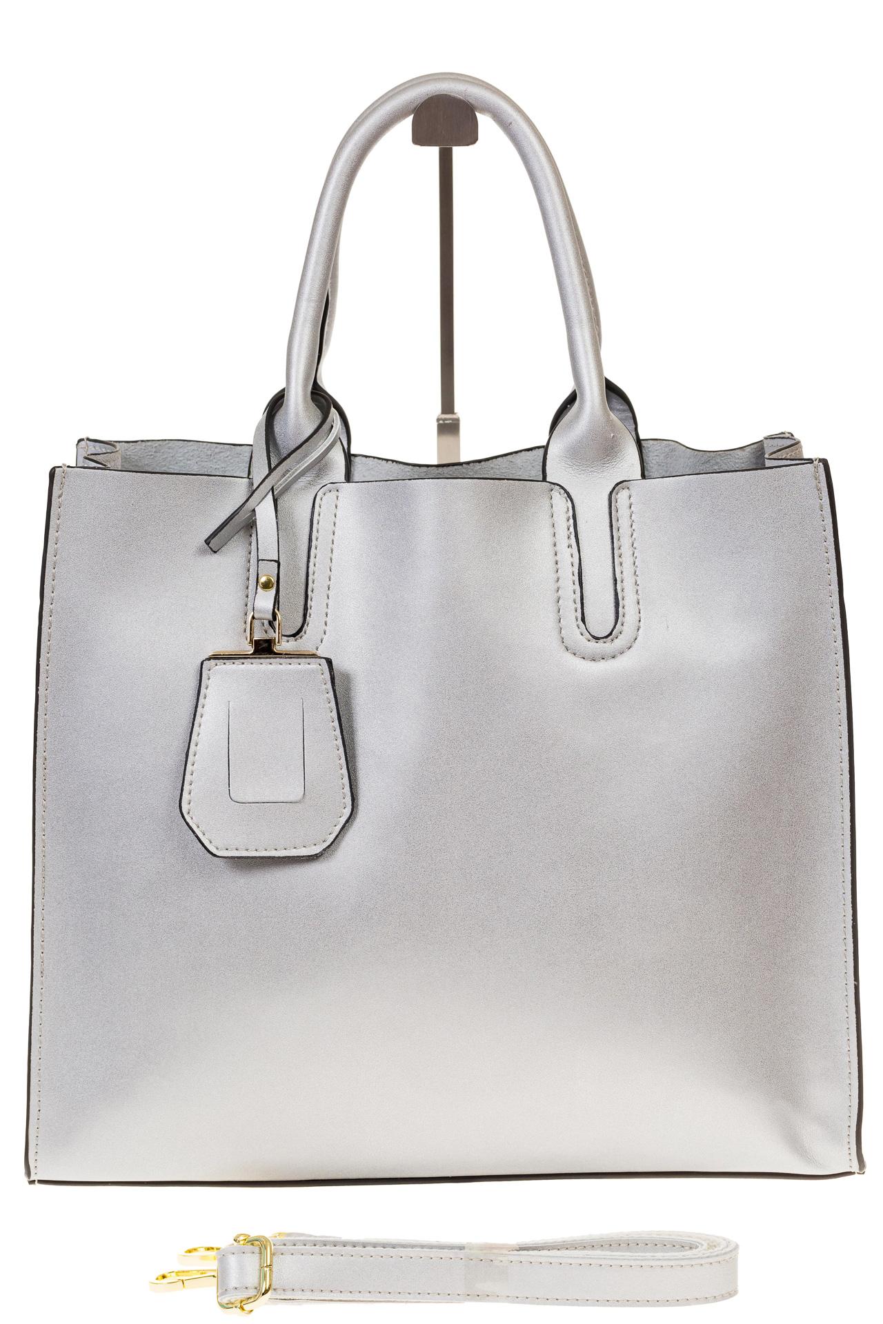 На фото 2 - Женская сумка-шопер серебристого цвета 6009MK5