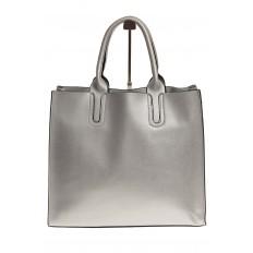 На фото 3 - Женская сумка-шопер серебристого цвета 6009MK5