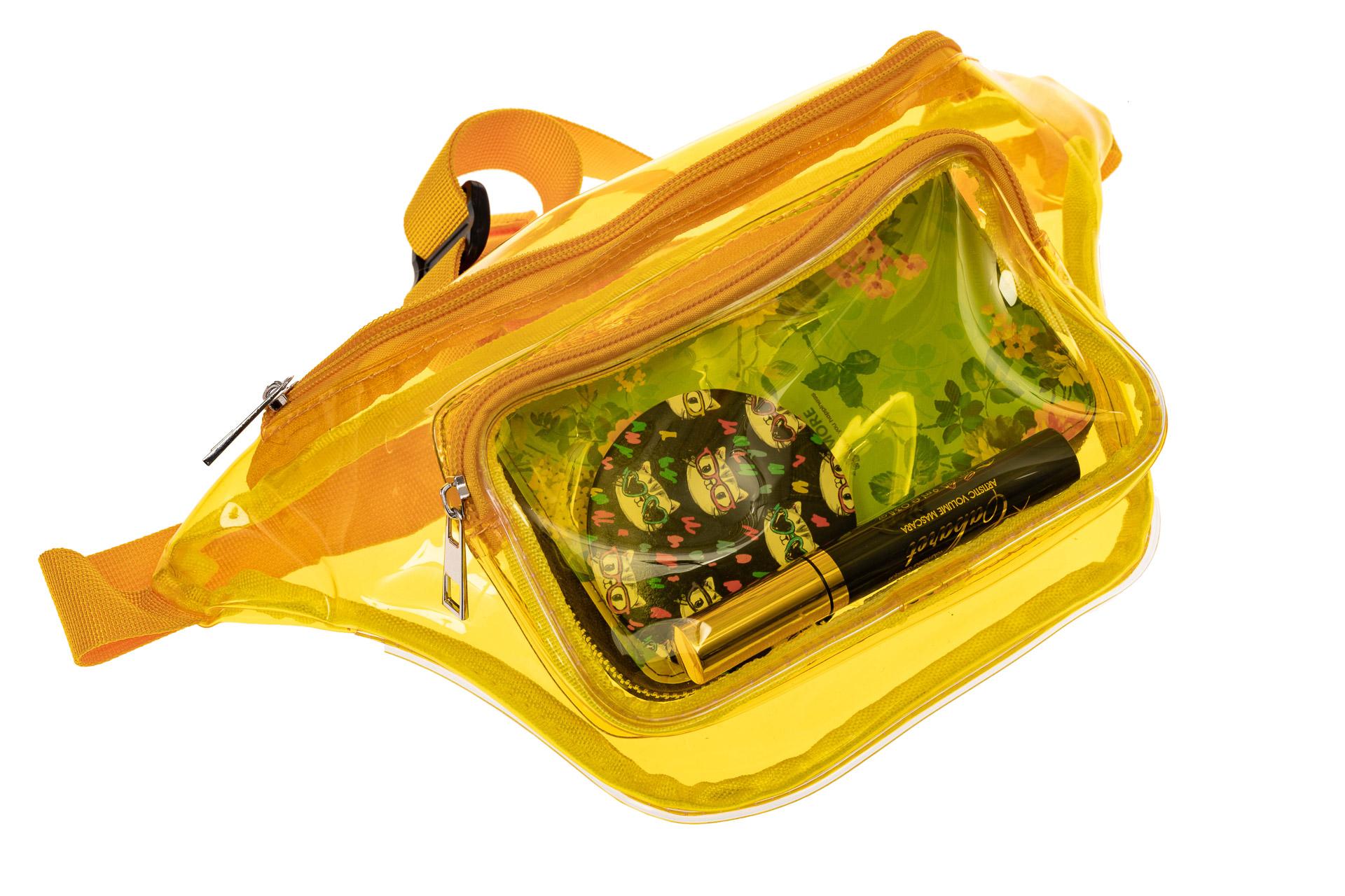 На фото 1 - Поясная прозрачная сумка из винила, цвет желтый