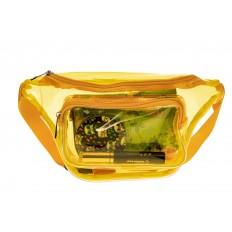 На фото 3 - Поясная прозрачная сумка из винила, цвет желтый