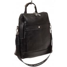 На фото 1 - Строгий женский рюкзак из искусственной кожи, цвет черный