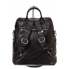 На фото 2 - Строгий женский рюкзак из искусственной кожи, цвет черный