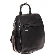 На фото 1 - Рюкзак «Антивор» из натуральной кожи, цвет черный