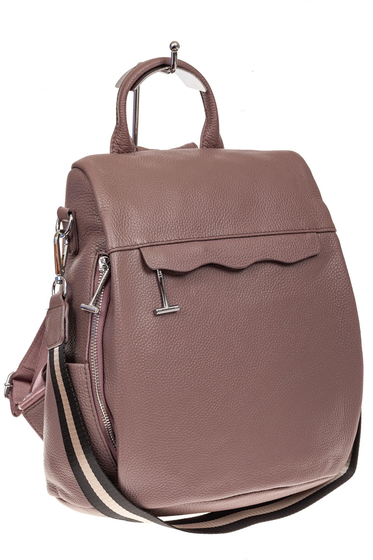 На фото 1 - Рюкзак «Антивор» из натуральной кожи, цвет пудра