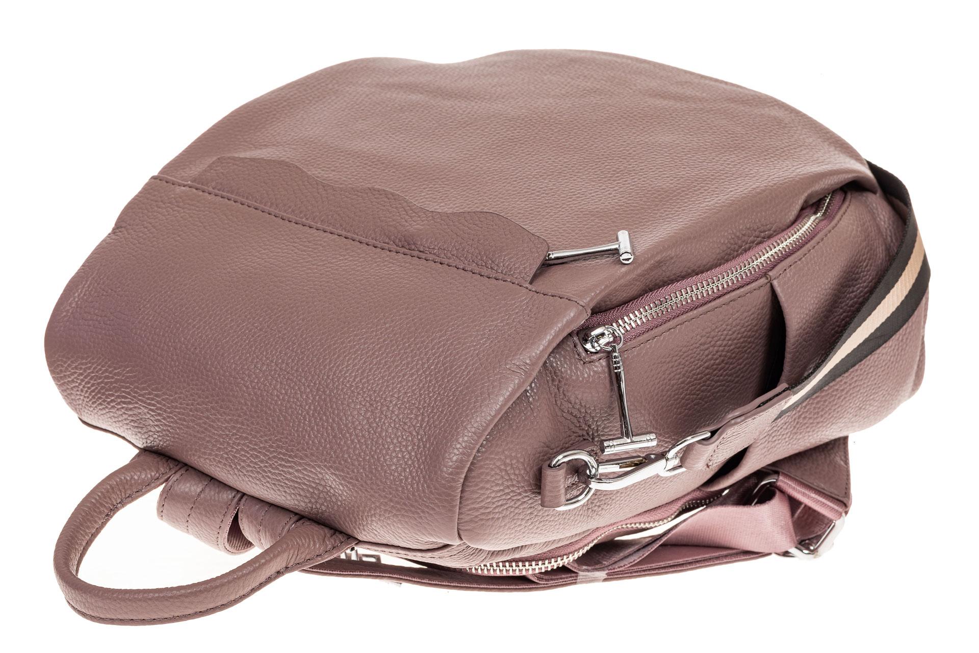 На фото 3 - Рюкзак «Антивор» из натуральной кожи, цвет пудра