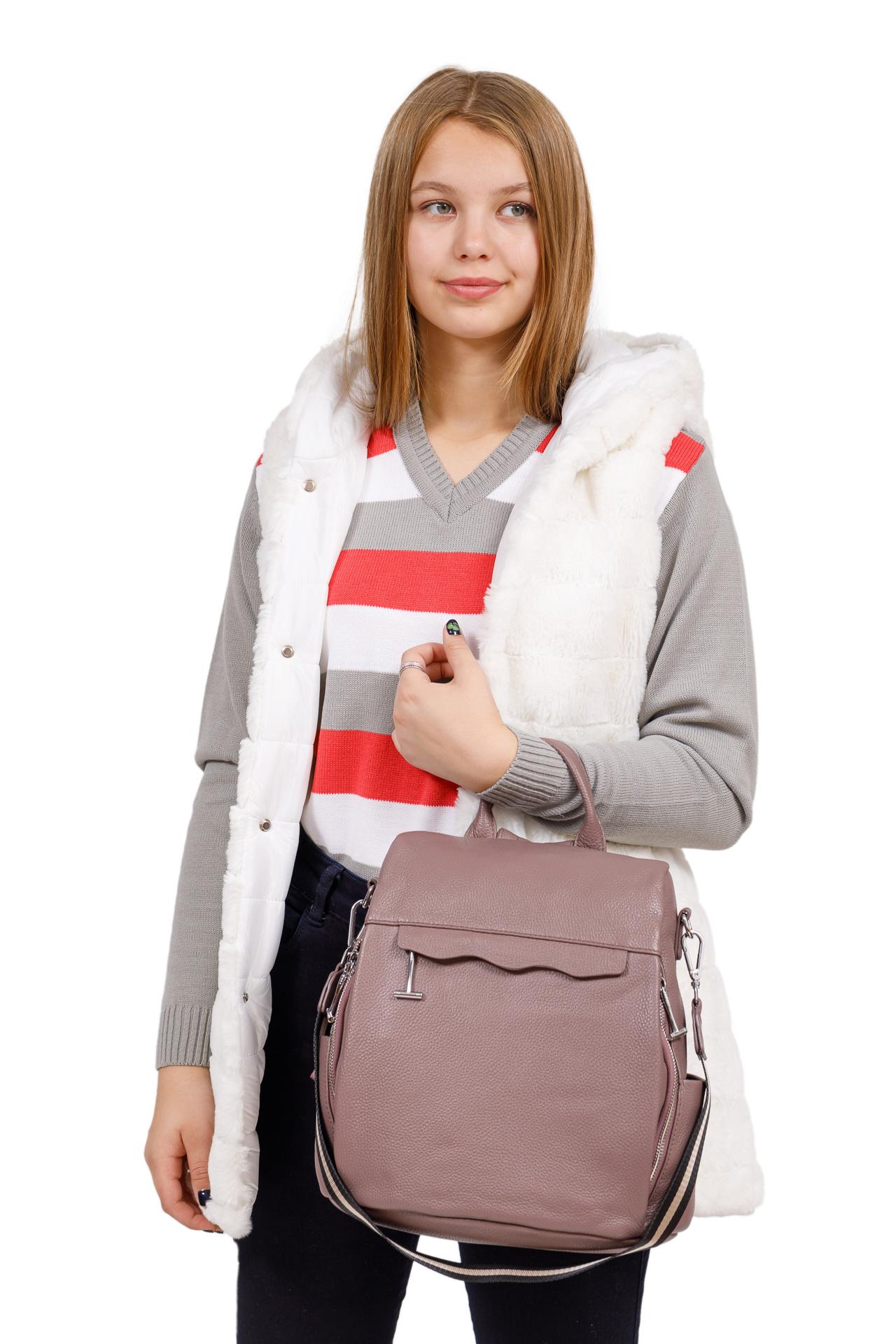 На фото 4 - Рюкзак «Антивор» из натуральной кожи, цвет пудра