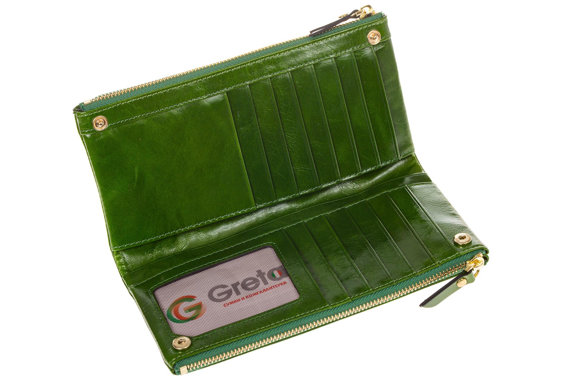 На фото 2 - Зеленое портмоне под мрамор 6012