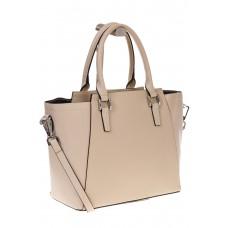 на фото Строгая сумка из натуральной кожи, цвет молочный 6017MK5