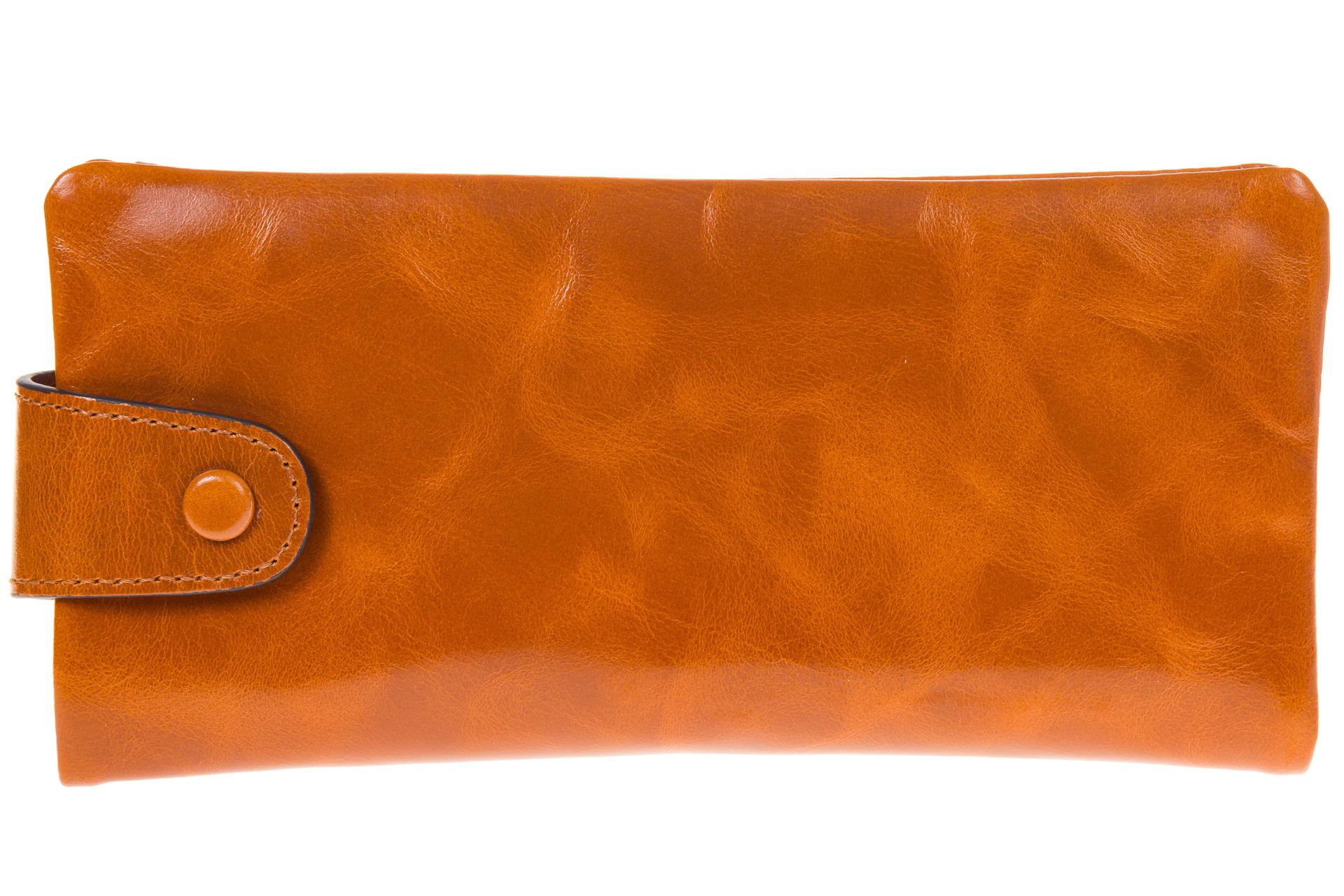 На фото 1 - Вертикальное портмоне оранжевого цвета 6018