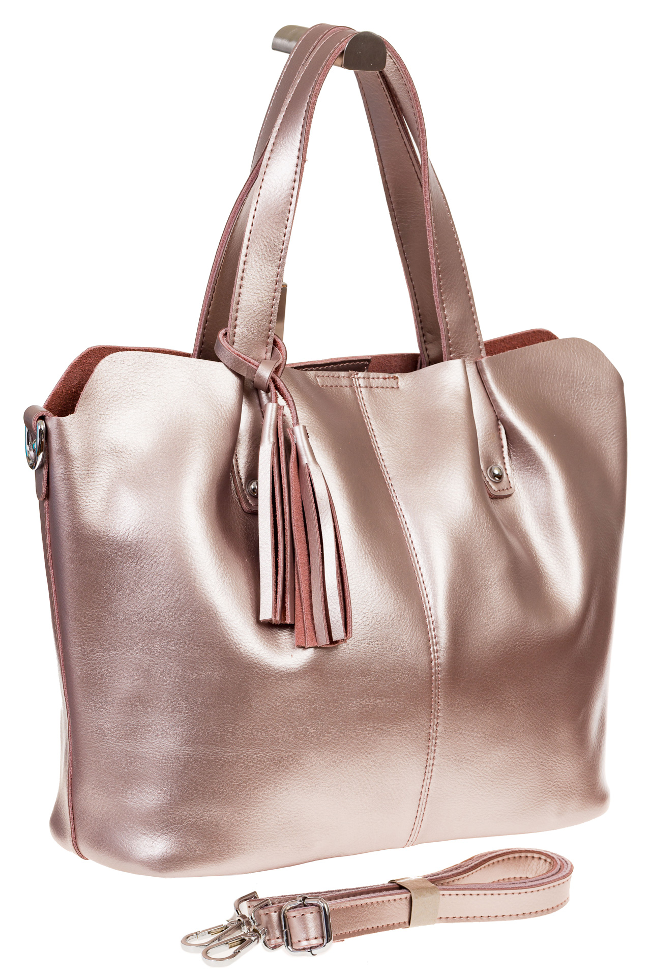На фото 1 - Розовый шоппер из натуральной кожи 601MK5