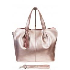 На фото 2 - Розовый шоппер из натуральной кожи 601MK5
