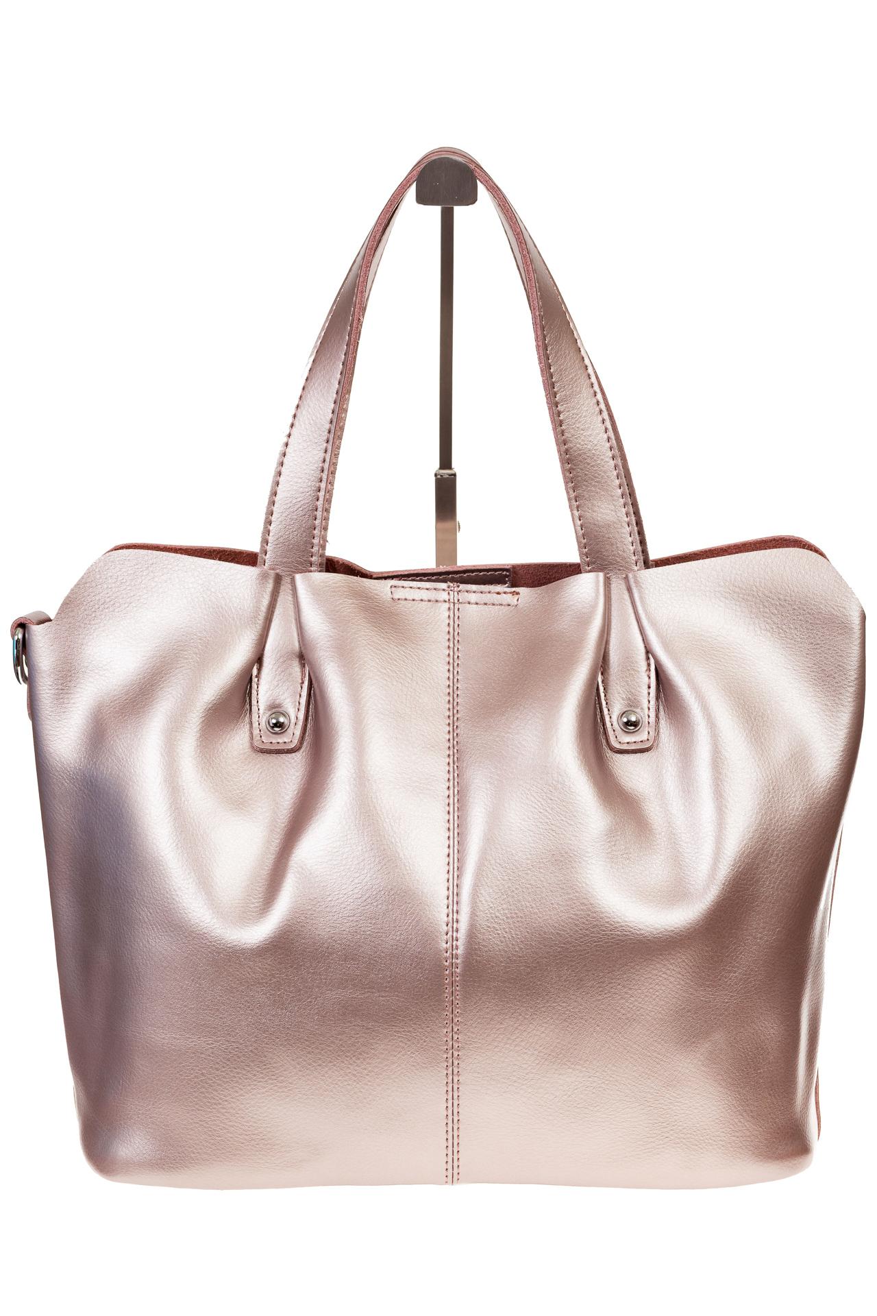 На фото 3 - Розовый шоппер из натуральной кожи 601MK5