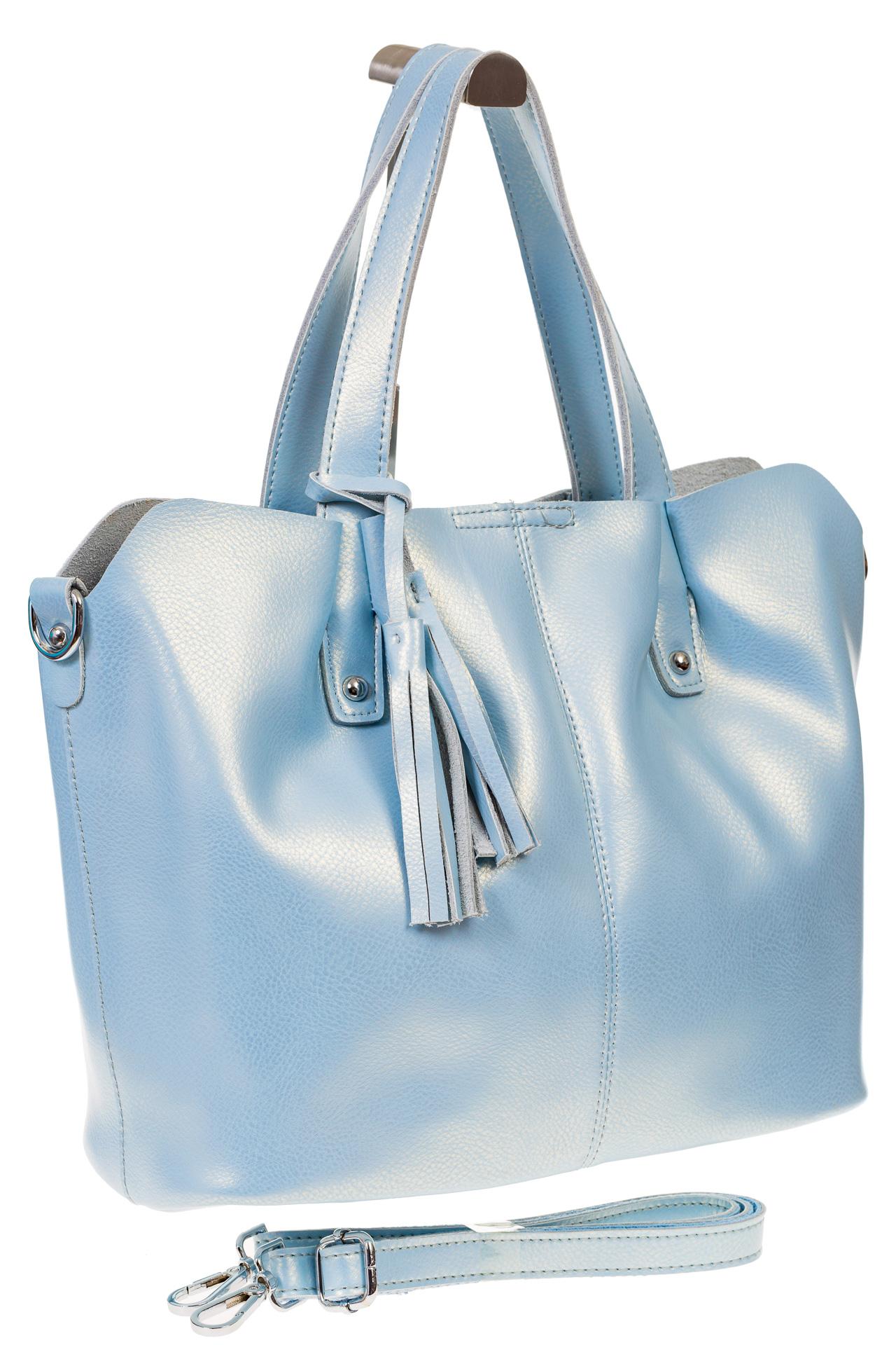 На фото 1 - Голубой шоппер из натуральной кожи 601MK5