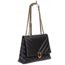 На фото 1 - Стёганая женская сумка из экокожи с ручками-цепочками, цвет чёрный
