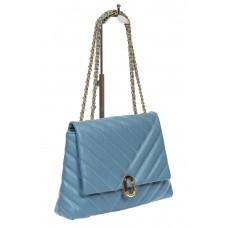 На фото 1 - Стёганая женская сумка из экокожи с ручками-цепочками, цвет голубой