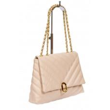На фото 1 - Стёганая женская сумка из экокожи с ручками-цепочками, цвет молочный