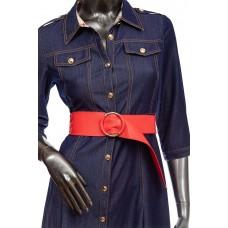 На фото 1 - Широкий кожаный женский пояс с кольцом, цвет красный