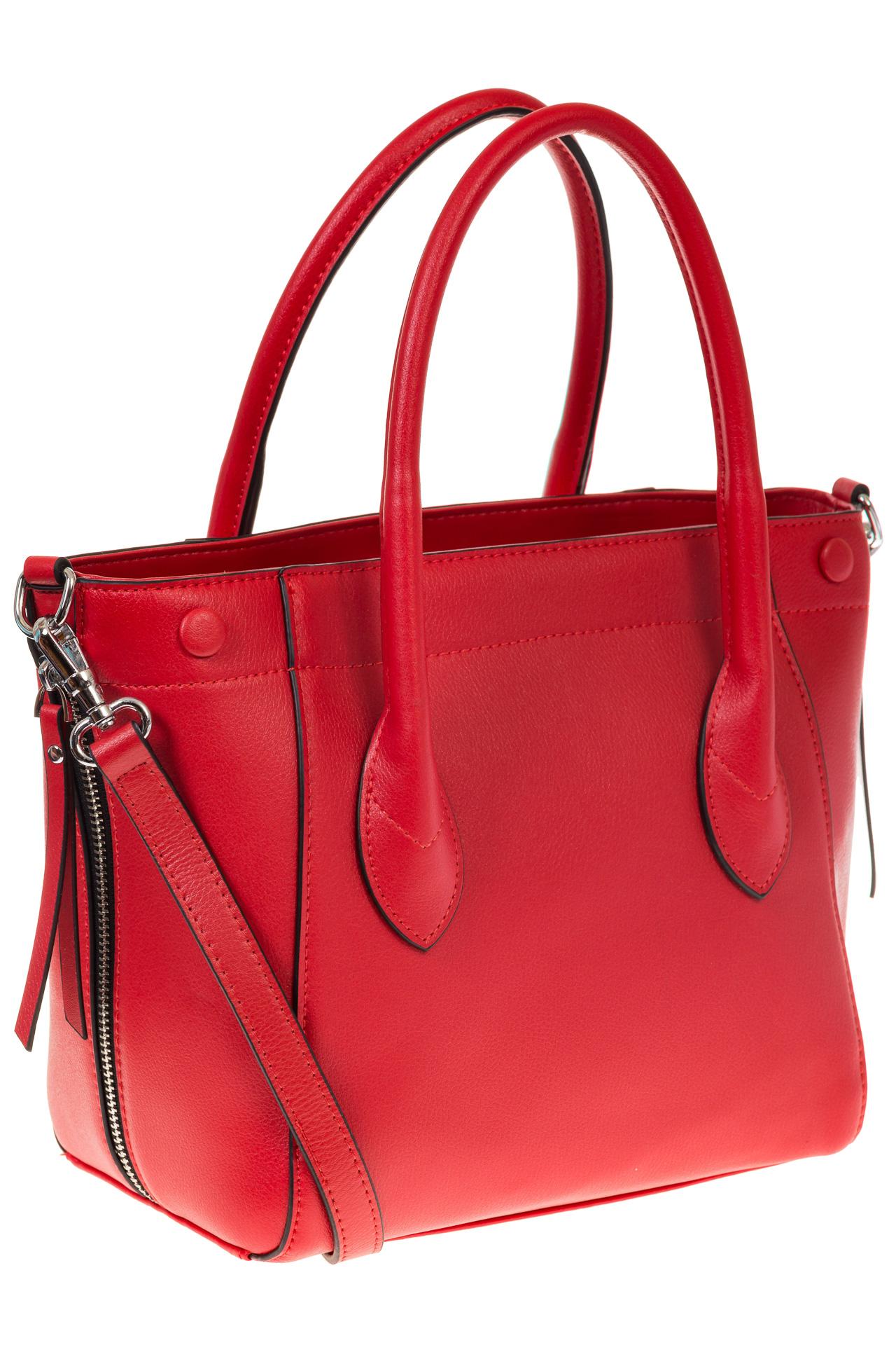 на фото Handbag из натуральной кожи красного цвета 6026MK5