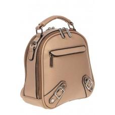 На фото 1 - Женский рюкзачок-трансформер из искусственной кожи, цвет пудровый