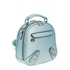 На фото 1 - Женский рюкзачок-трансформер из искусственной кожи, цвет голубой