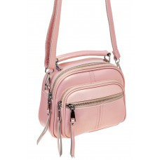 На фото 1 - Летняя сумка-малышка из натуральной кожи, цвет розовый