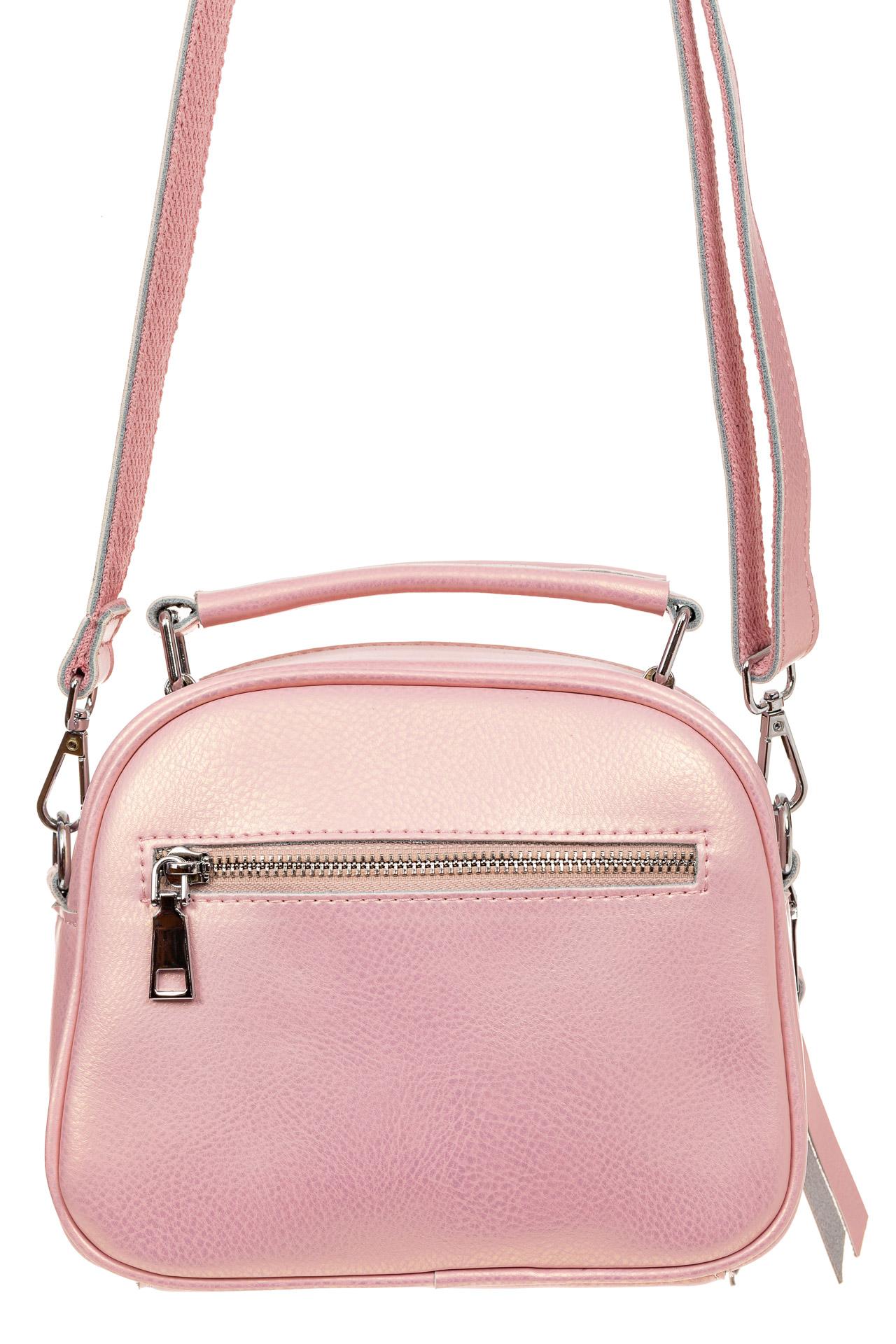 На фото 2 - Летняя сумка-малышка из натуральной кожи, цвет розовый