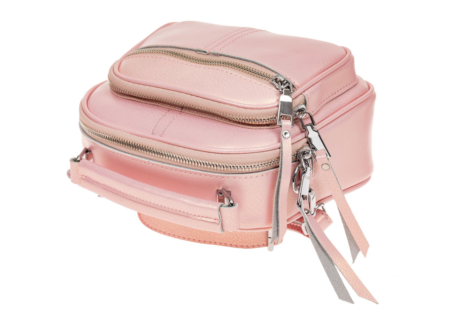 На фото 3 - Летняя сумка-малышка из натуральной кожи, цвет розовый