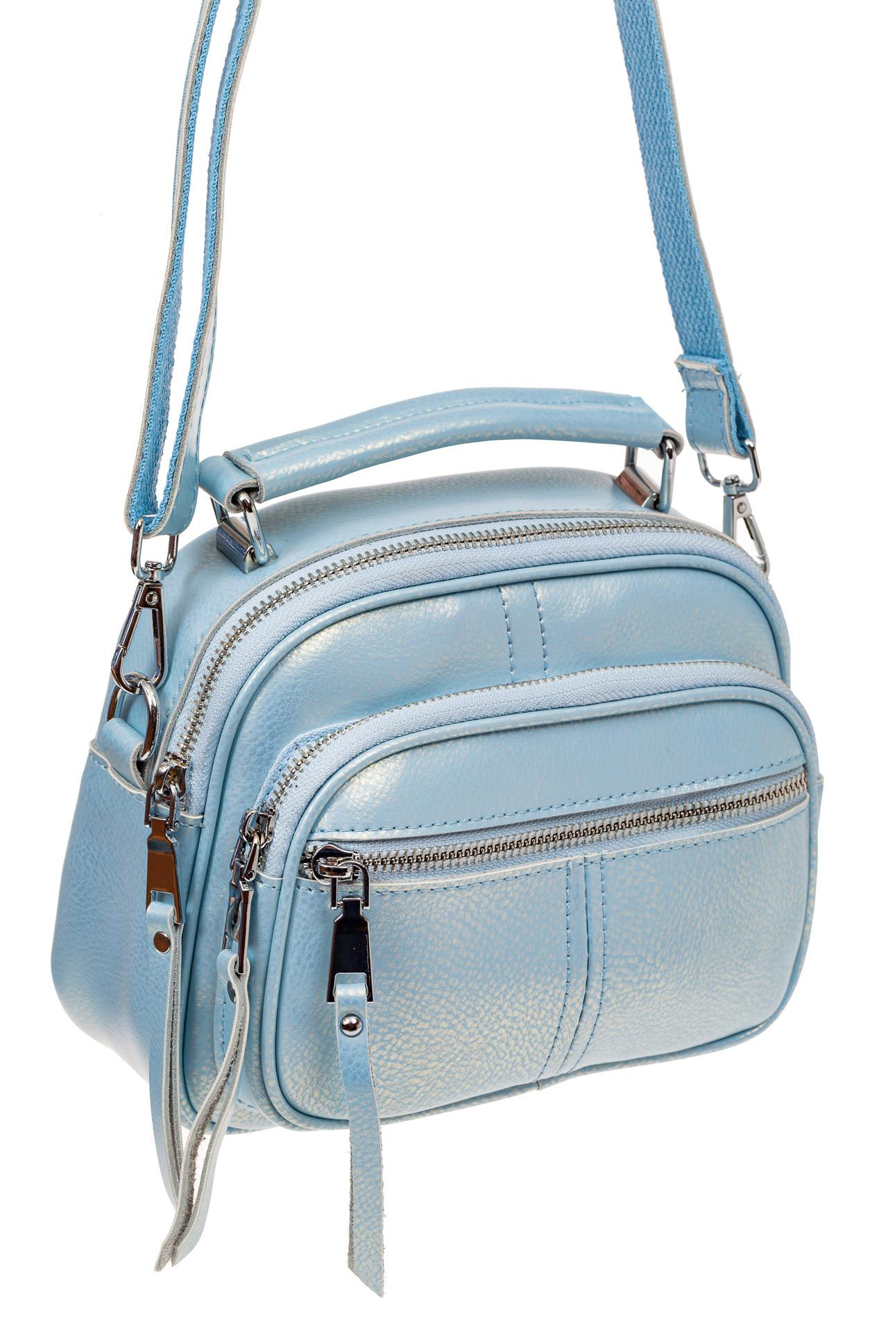 На фото 1 - Летняя сумка-малышка из натуральной кожи, цвет голубой
