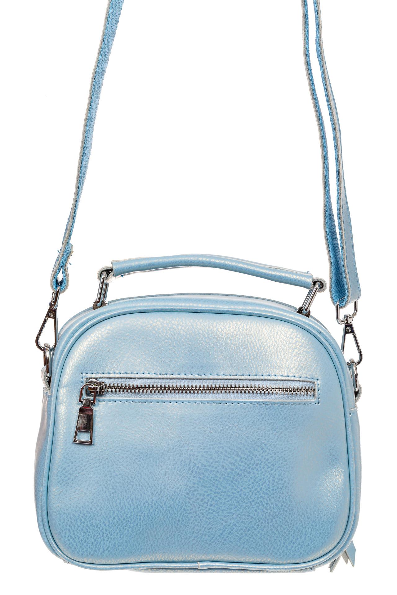 На фото 2 - Летняя сумка-малышка из натуральной кожи, цвет голубой