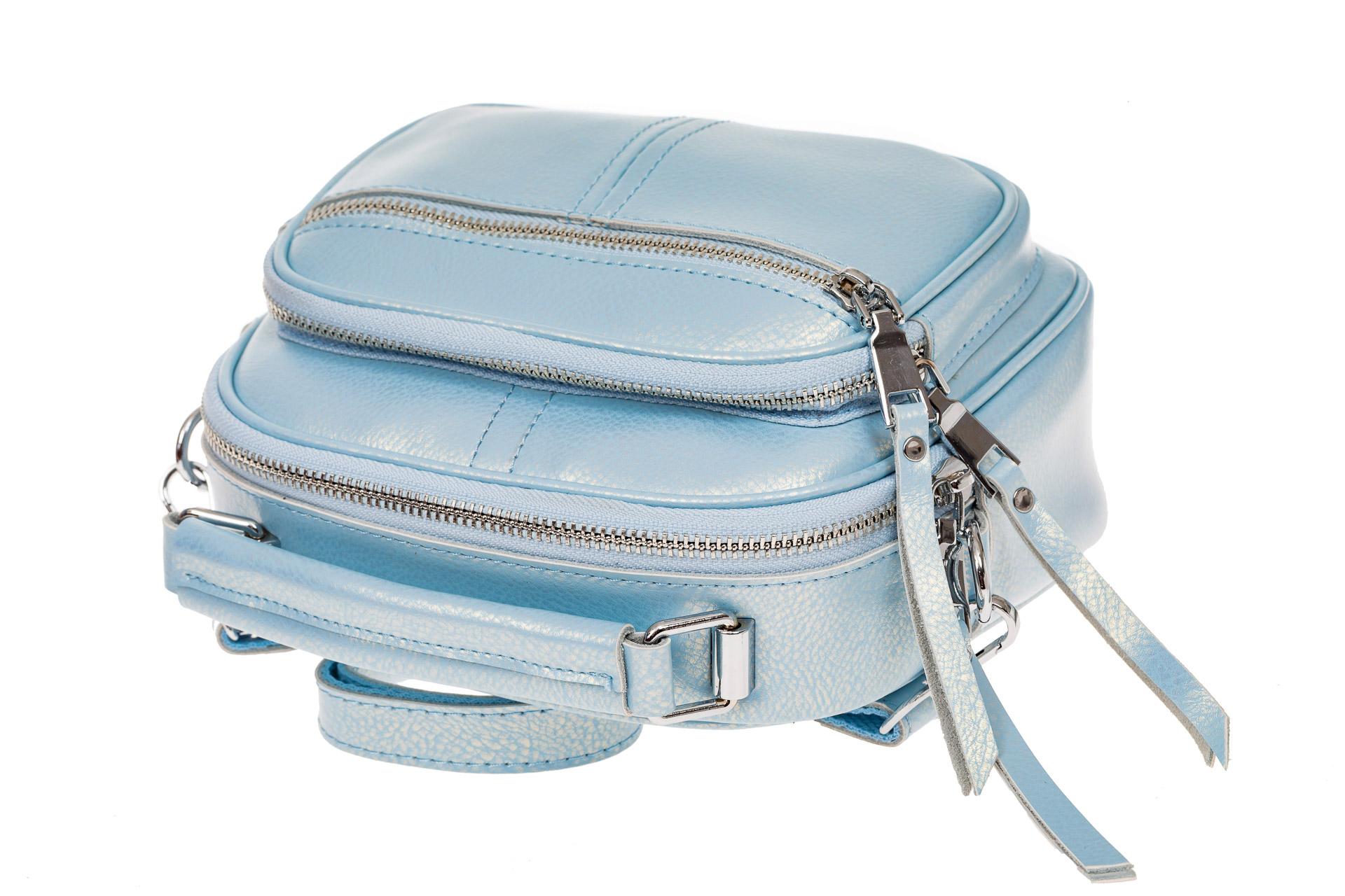На фото 3 - Летняя сумка-малышка из натуральной кожи, цвет голубой