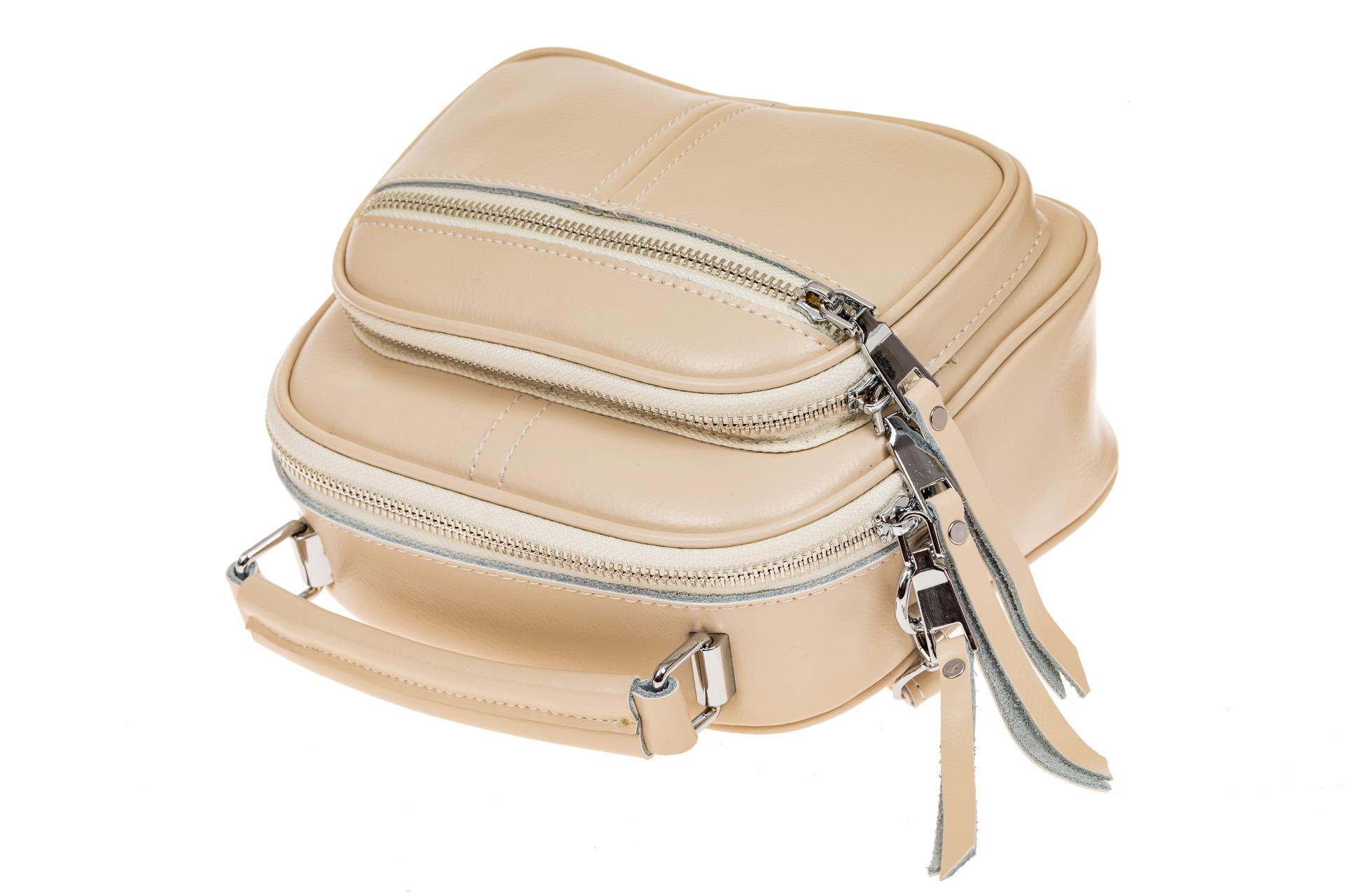 На фото 3 - Летняя сумка-малышка из натуральной кожи, цвет кофе с молоком
