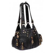 На фото 1 - Мягкая женская сумка хобо со стразами, цвет чёрный