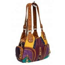На фото 1 - Мягкая женская сумка хобо со стразами, цвет фиолетовый с жёлтым и рыжим