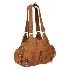 На фото 1 - Мягкая женская сумка хобо со стразами, цвет рыжий