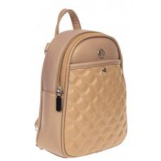 На фото 1 - Женский стёганый рюкзачок-трансформер из экокожи, цвет пудровый