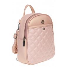 На фото 1 - Женский стёганый рюкзачок-трансформер из экокожи, цвет розовый