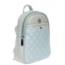 На фото 1 - Женский стёганый рюкзачок-трансформер из экокожи, цвет светло-бирюзовый