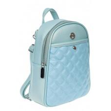 На фото 1 - Женский стёганый рюкзачок-трансформер из экокожи, цвет голубой