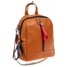 На фото 1 - Женский рюкзак из натуральной кожи, цвет рыжий