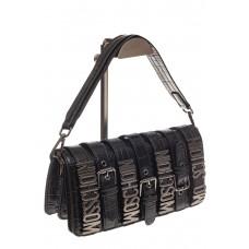 На фото 1 - Модная сумка багет из искусственной кожи, цвет черный