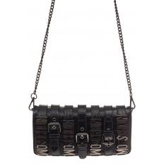 На фото 2 - Модная сумка багет из искусственной кожи, цвет черный
