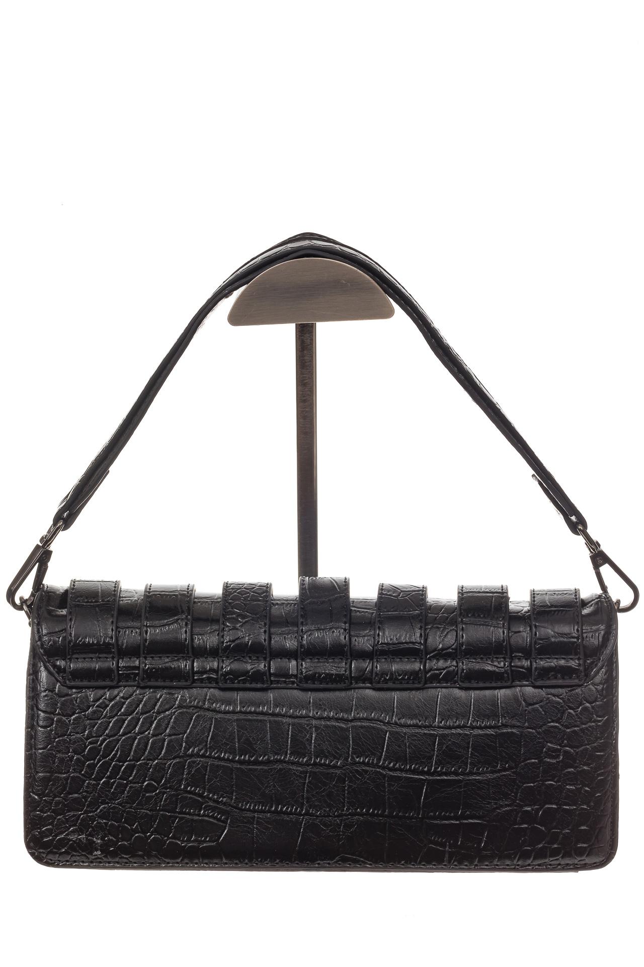 На фото 3 - Модная сумка багет из искусственной кожи, цвет черный