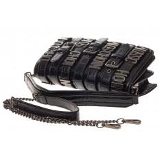 На фото 4 - Модная сумка багет из искусственной кожи, цвет черный