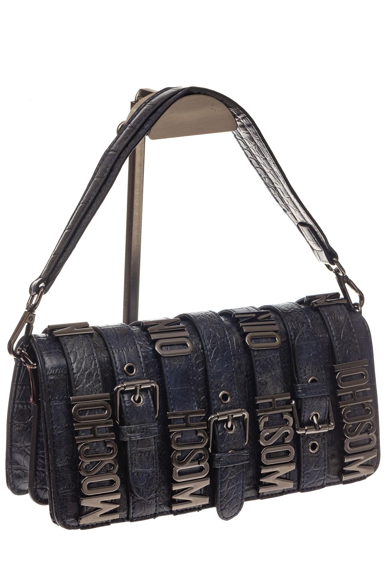 На фото 1 - Модная сумка багет из искусственной кожи, цвет синий хром