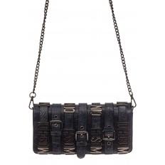 На фото 2 - Модная сумка багет из искусственной кожи, цвет синий хром