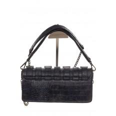 На фото 3 - Модная сумка багет из искусственной кожи, цвет синий хром
