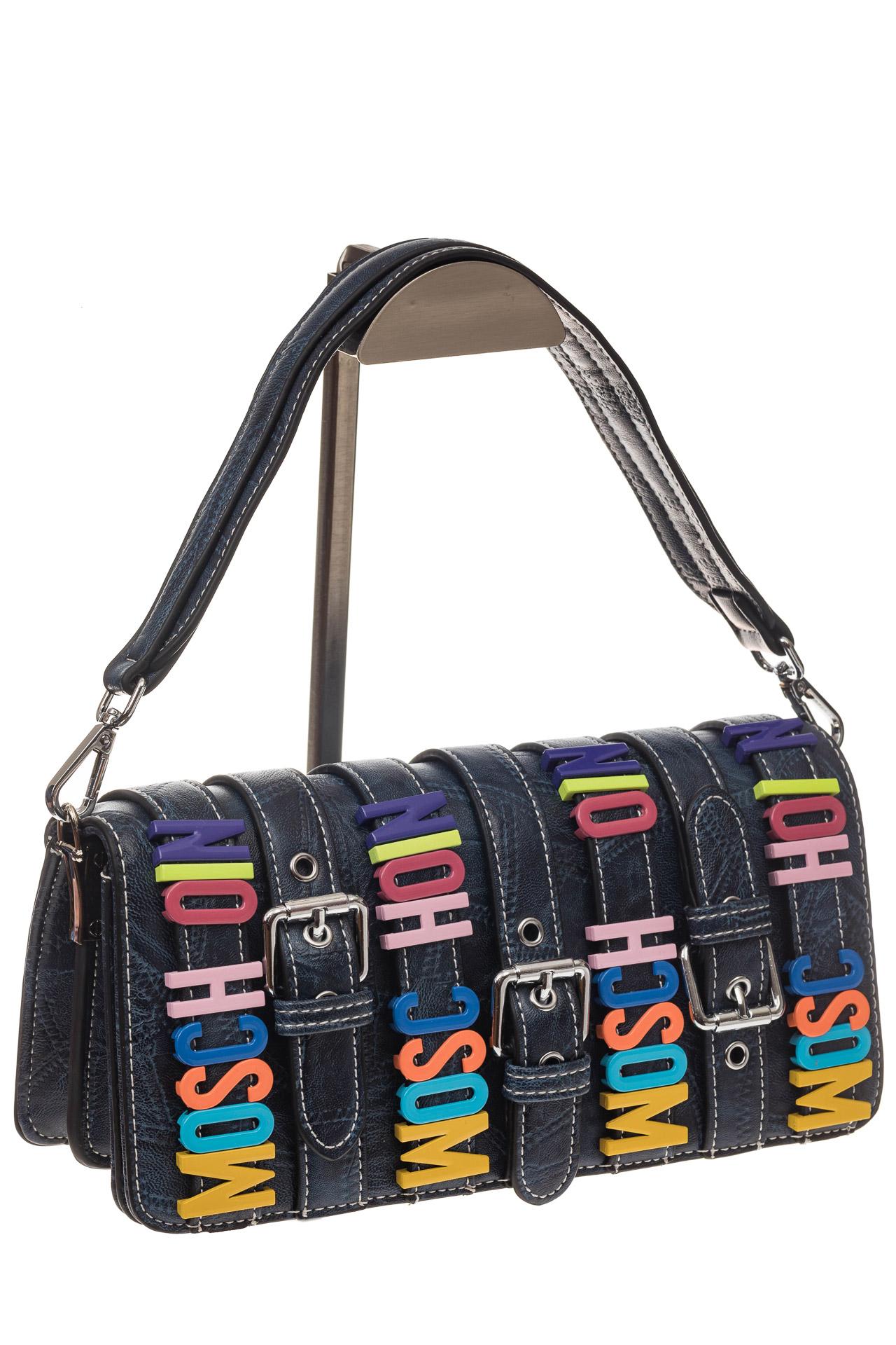 На фото 1 - Модная сумка багет из искусственной кожи, цвет синий